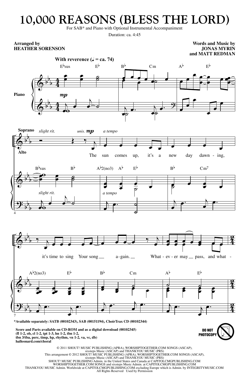 10000 Reasons Chords 10000 Reasons Bless The Lord Arr Heather Sorenson Sheet