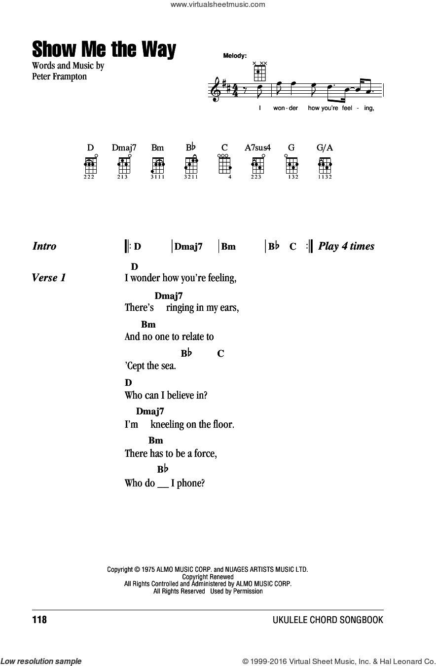 21 Guns Chords Frampton Show Me The Way Sheet Music For Ukulele Chords Pdf