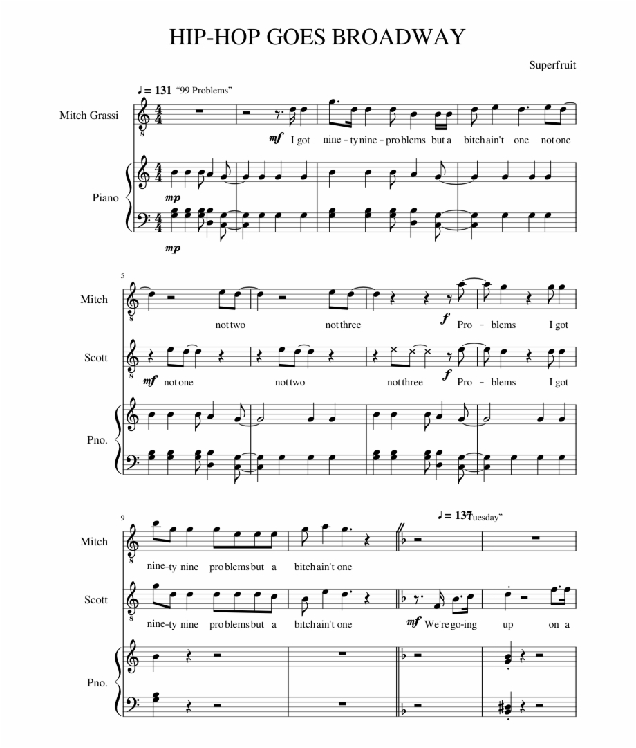 4 Chord Song Hip Hop Goes Broadway Sheet Music Composed Superfruit 4 Chord