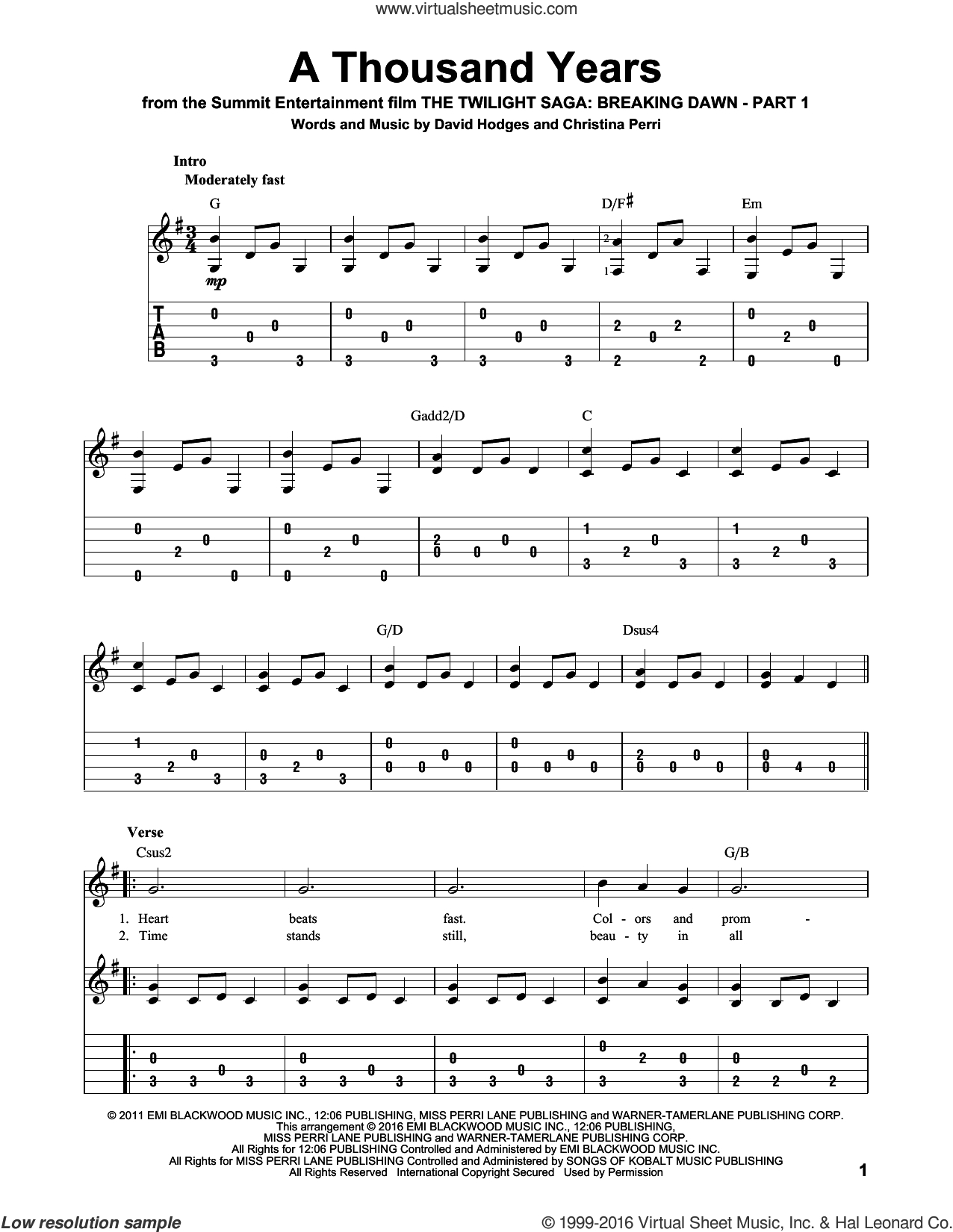 A Thousand Years Chords Perri A Thousand Years Sheet Music For Guitar Solo Pdf