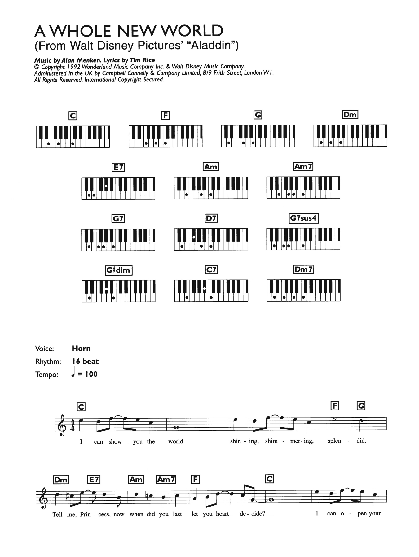 A Whole New World Chords A Whole New World From Aladdin Sheet Music Alan Menken Piano