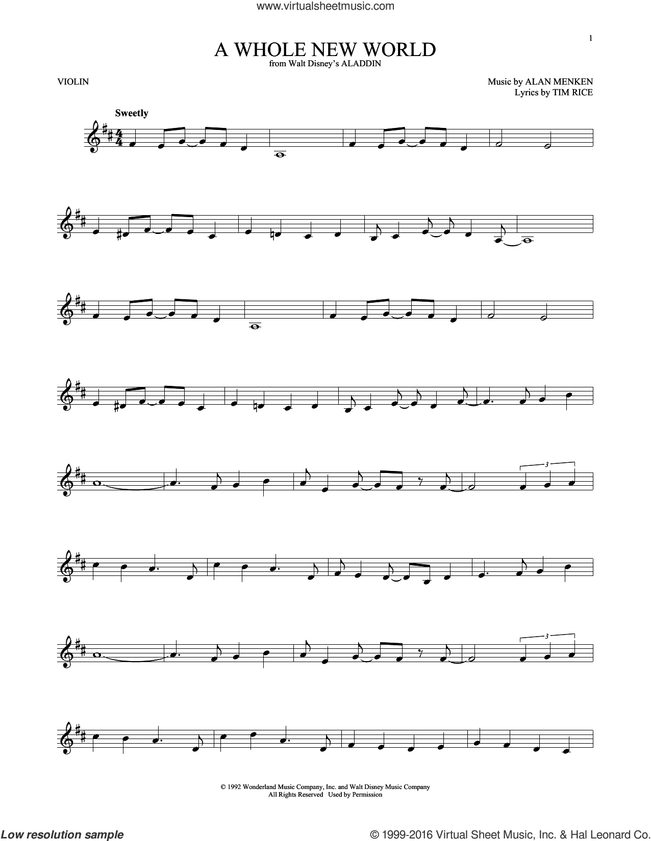 A Whole New World Chords Menken A Whole New World From Aladdin Sheet Music For Violin Solo