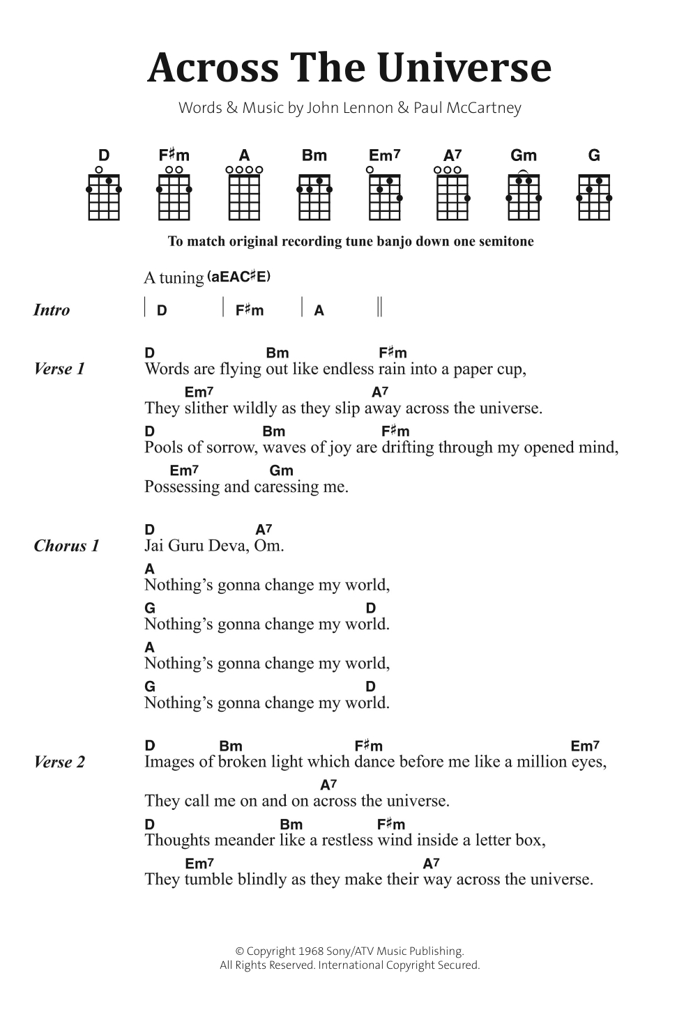 Across The Universe Chords Across The Universe The Beatles Piano Vocal Guitar Right Hand Melody Digital Sheet Music