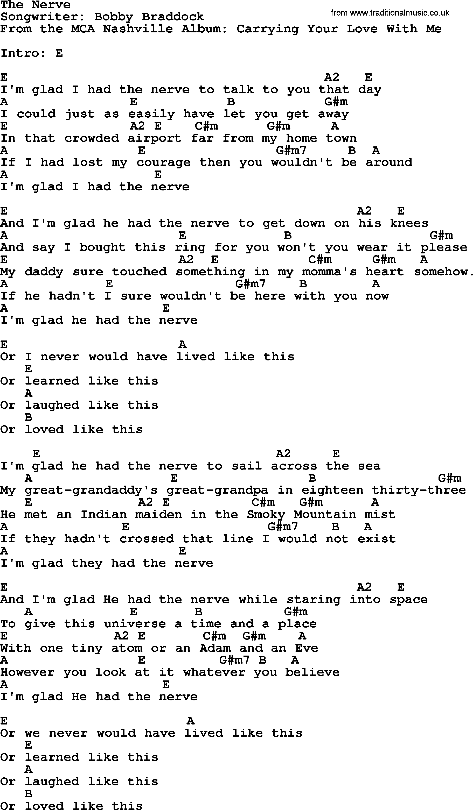 Across The Universe Chords The Nerve George Strait Lyrics And Chords