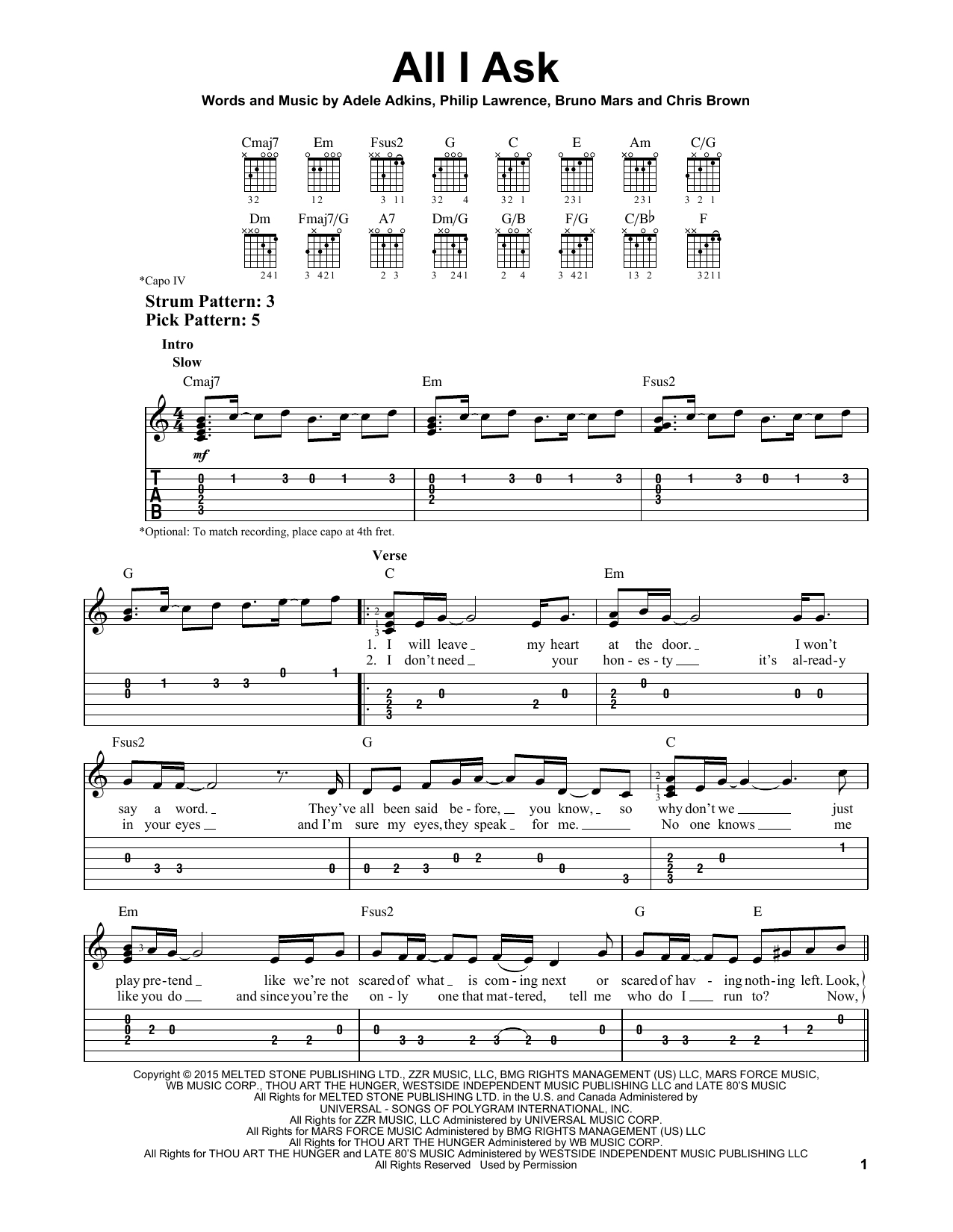 All I Ask Chords All I Ask Adele Easy Guitar Tab Guitar Instructor