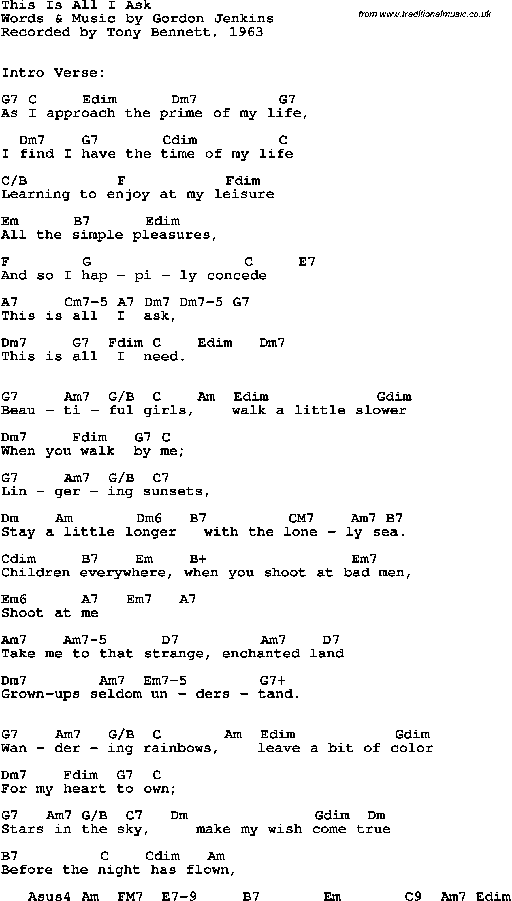 All I Ask Chords Song Lyrics With Guitar Chords For This Is All I Ask Tony Bennett
