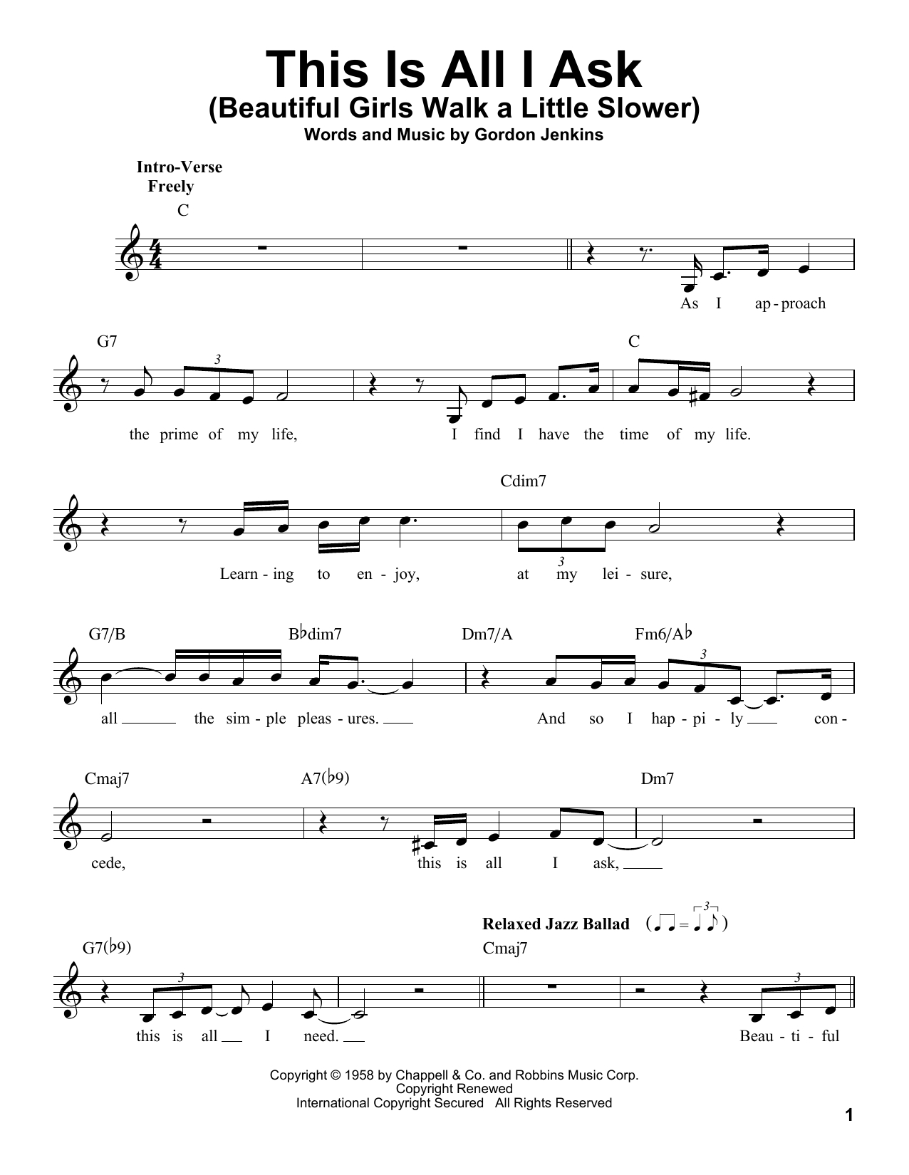 All I Ask Chords This Is All I Ask Beautiful Girls Walk A Little Slower Gordon Jenkins Real Book Melody Lyrics Chords C Instruments Digital Sheet Music