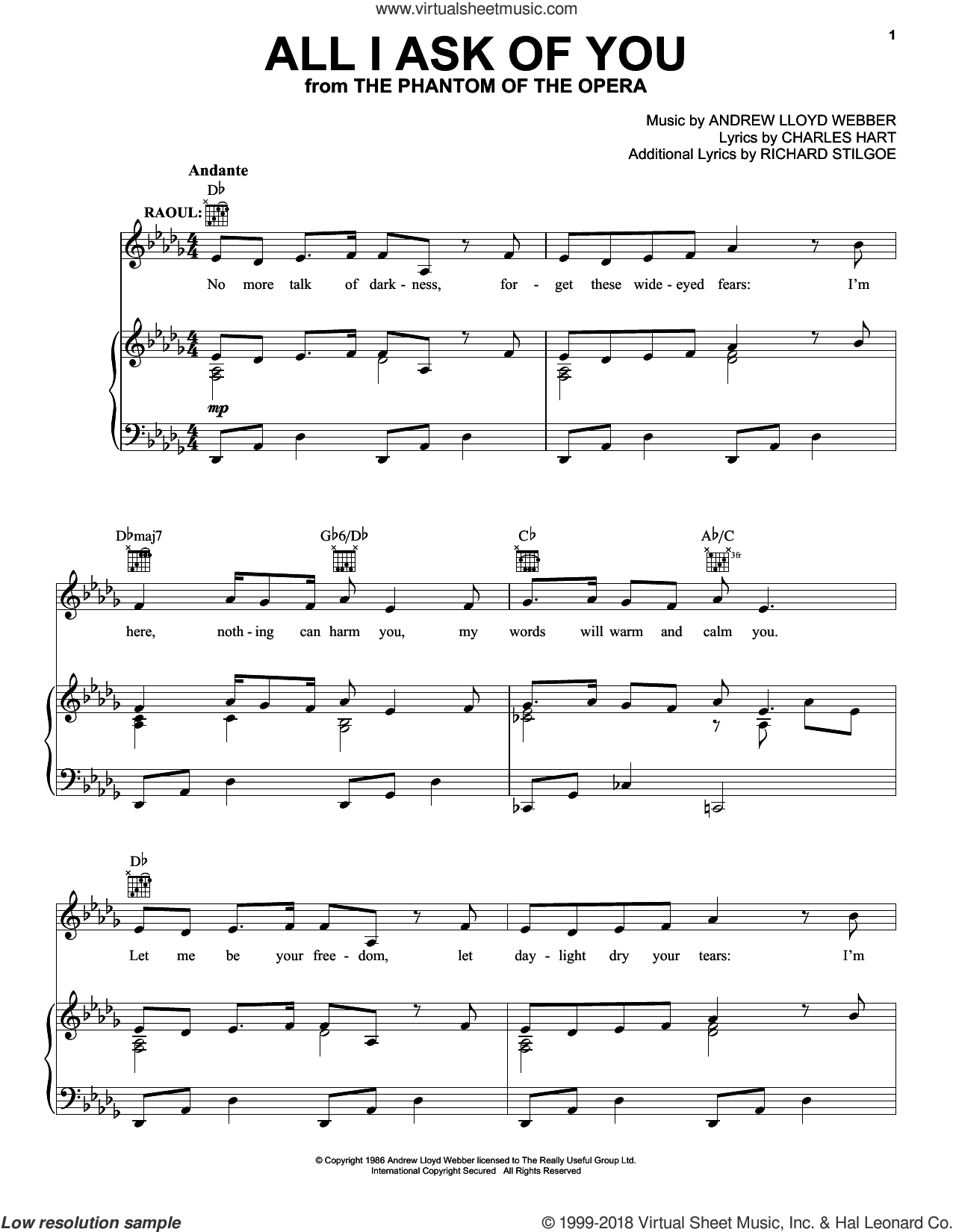 All I Ask Chords Webber All I Ask Of You From The Phantom Of The Opera Sheet Music For Voice Piano Or Guitar