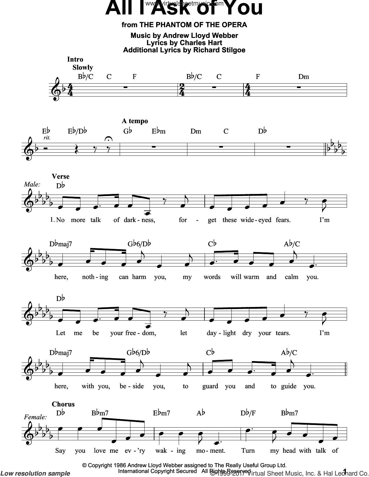 All I Ask Chords Webber All I Ask Of You From The Phantom Of The Opera Sheet Music For Voice Solo