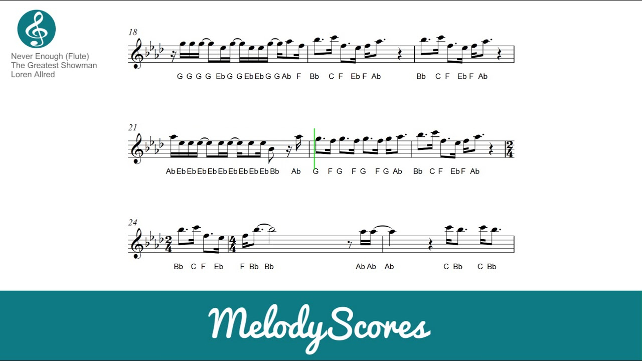 Almost Is Never Enough Chords Flute The Greatest Showman Never Enough Sheet Music