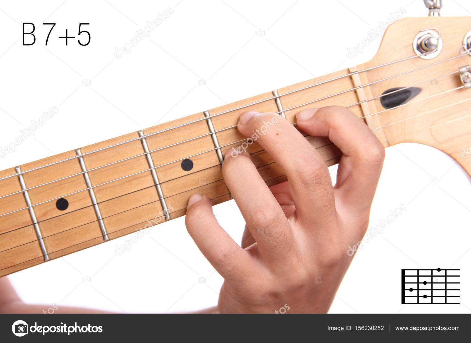 B7 Guitar Chord B75 Guitar Chord Tutorial Stock Photo Pepscostudio 156230252