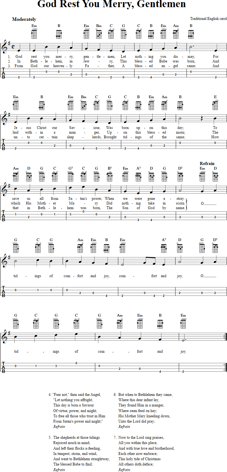 Baritone Ukulele Chords God Rest You Merry Gentlemen Chords Sheet Music And Tab For