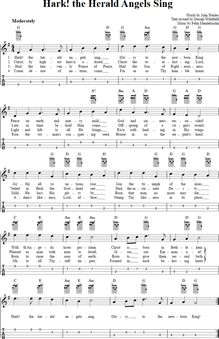 Baritone Ukulele Chords Hark The Herald Angels Sing Chords Sheet Music And Tab For