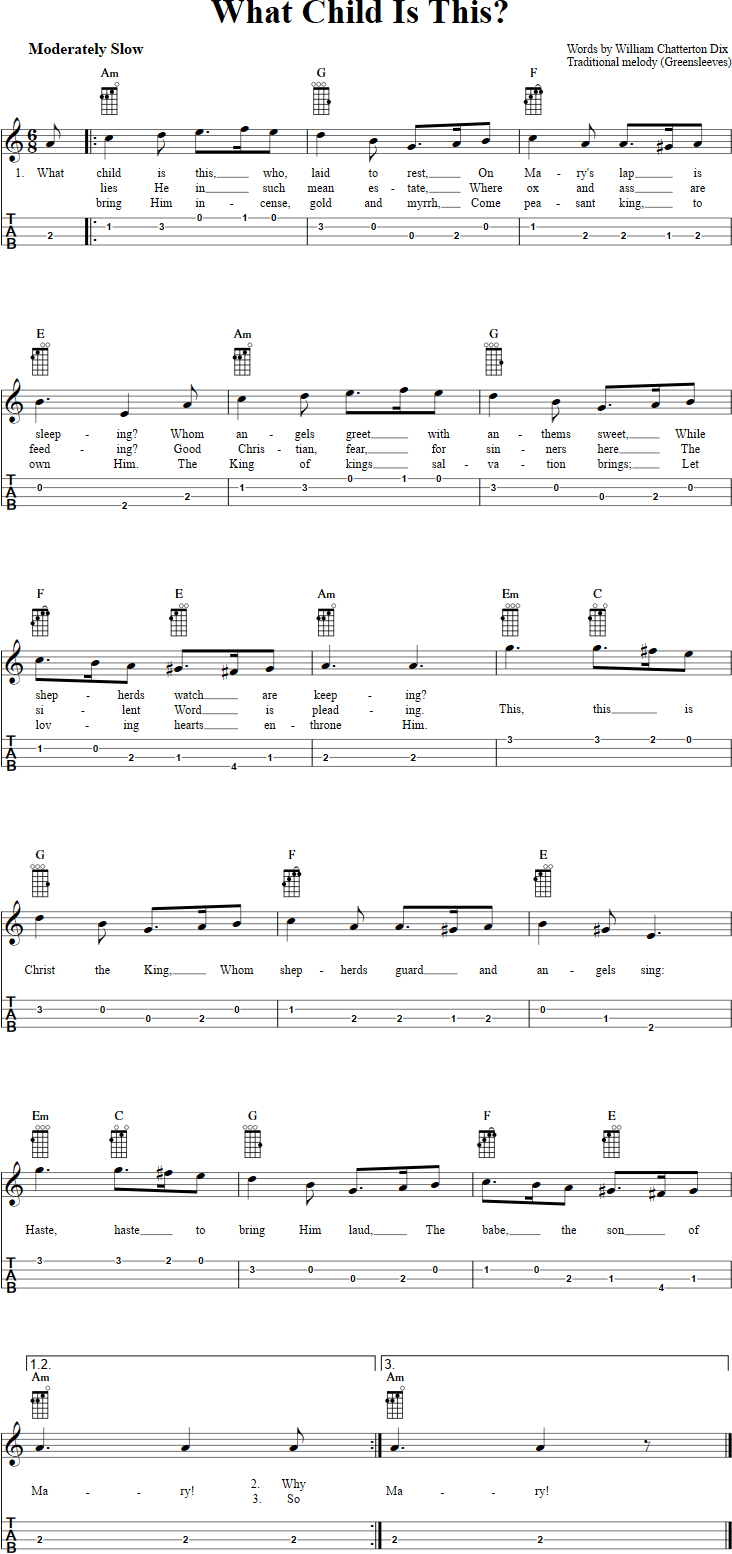 Baritone Ukulele Chords What Child Is This Chords Sheet Music And Tab For Baritone