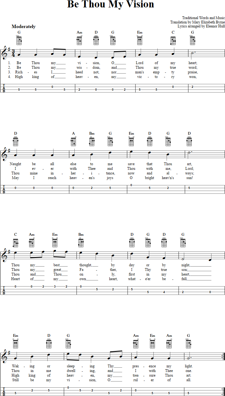 Be Thou My Vision Chords Be Thou My Vision Chords Sheet Music And Tab For Mandolin With Lyrics