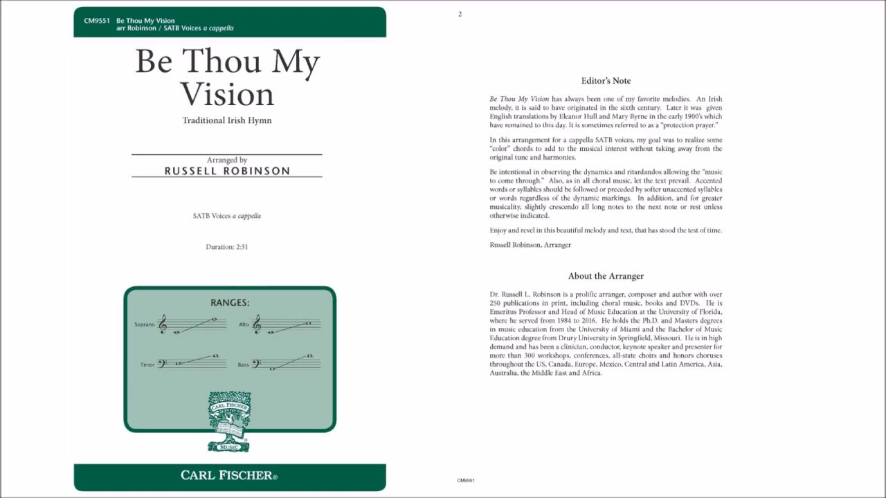 Be Thou My Vision Chords Be Thou My Vision Cm9551 Arr Russell Robinson