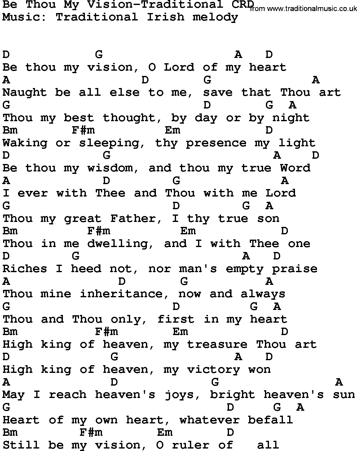 Be Thou My Vision Chords Gospel Song Be Thou My Vision Traditional Lyrics And Chords