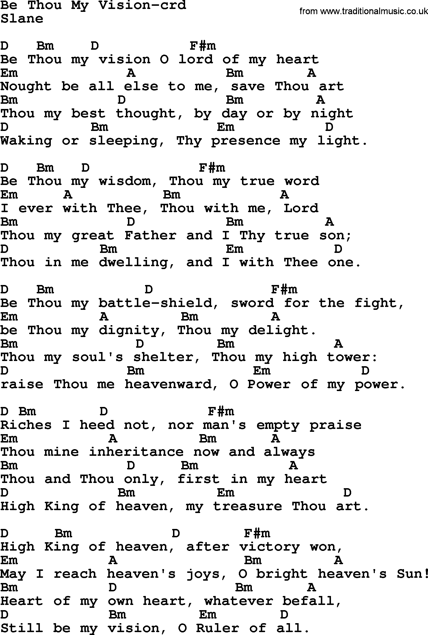 Be Thou My Vision Chords Top 500 Hymn Be Thou My Vision Lyrics Chords And Pdf