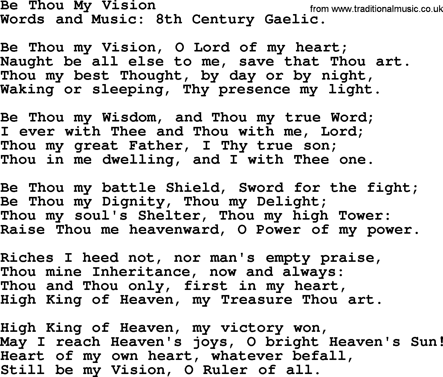 Be Thou My Vision Chords Wedding Hymns And Songs Be Thou My Visiontxt Lyrics Chords And Pdf