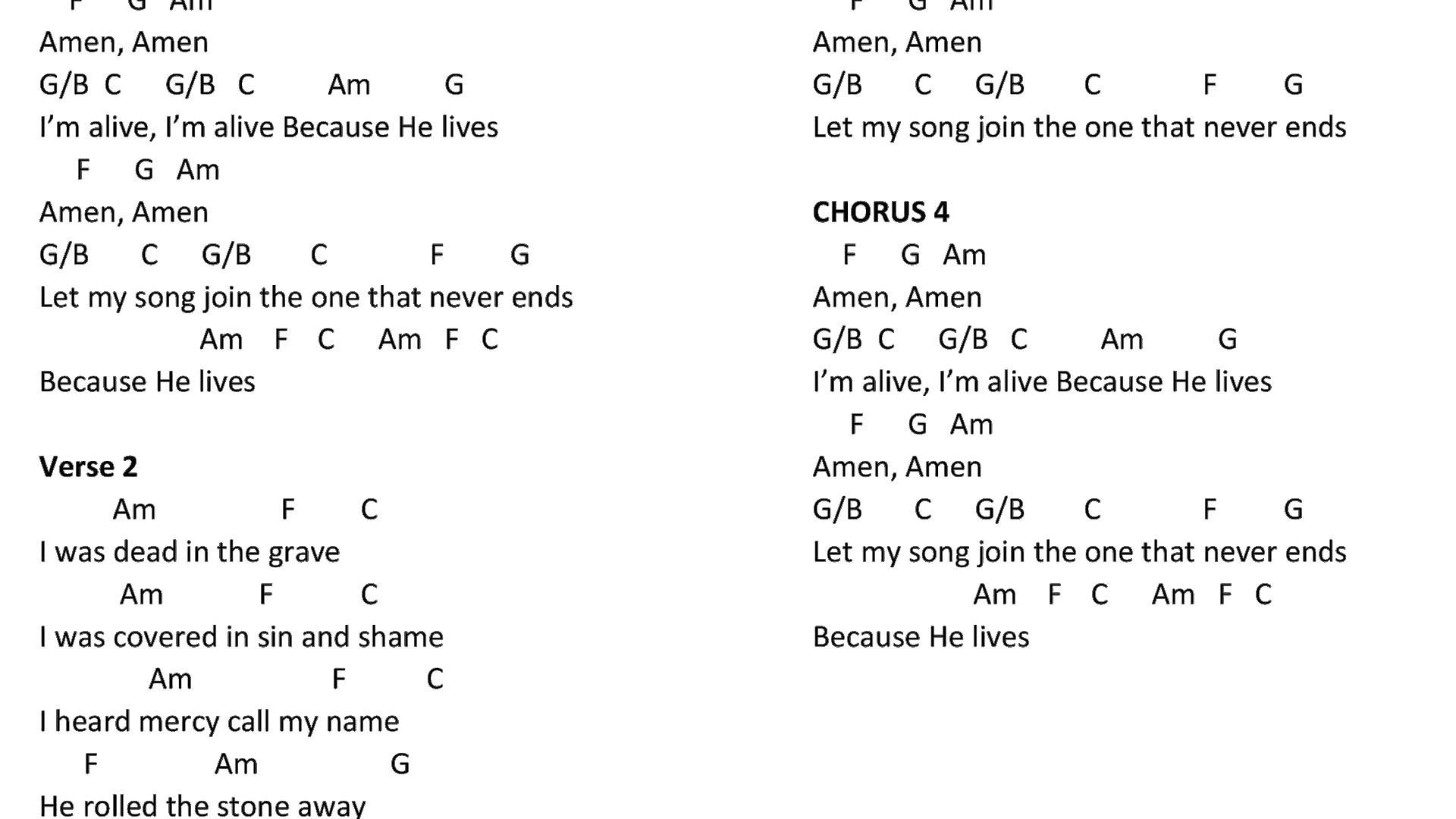 Because He Lives Chords Am G Guitar Chord Accomplice Music