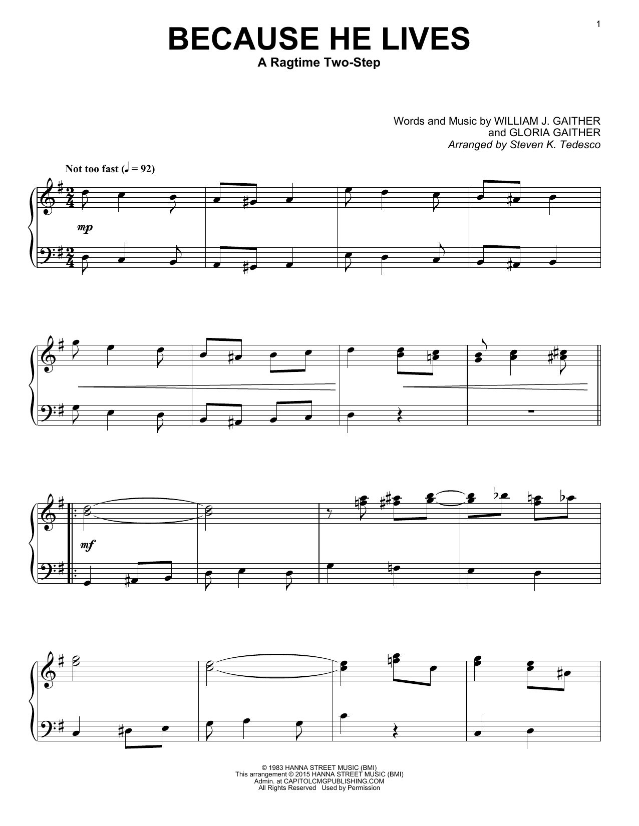Because He Lives Chords Gaither Vocal Band Because He Lives Sheet Music Notes Chords Download Printable Piano Solo Sku 162421