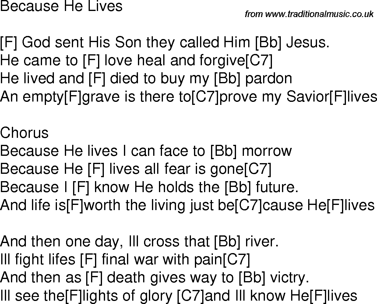 Because He Lives Chords Old Time Song Lyrics With Guitar Chords For Because He Lives F