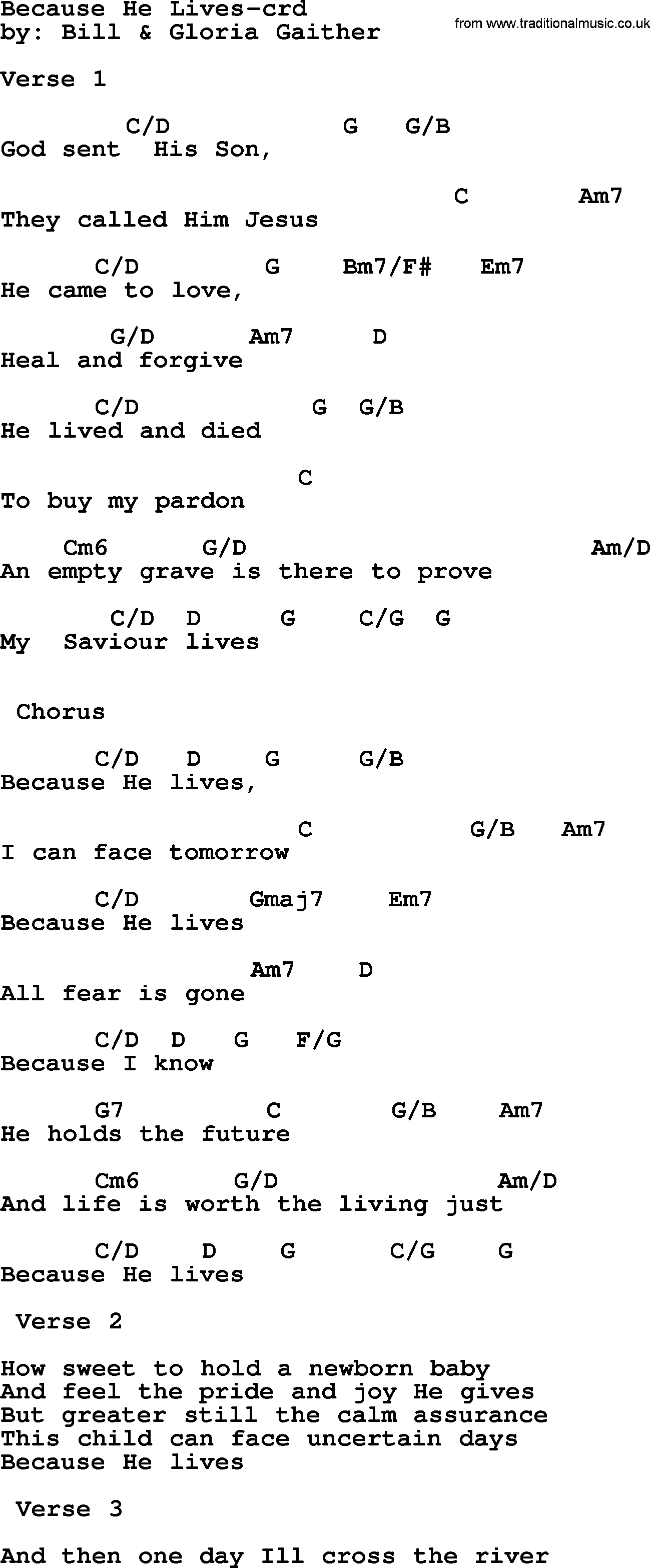 Because He Lives Chords Top 500 Hymn Because He Lives Lyrics Chords And Pdf