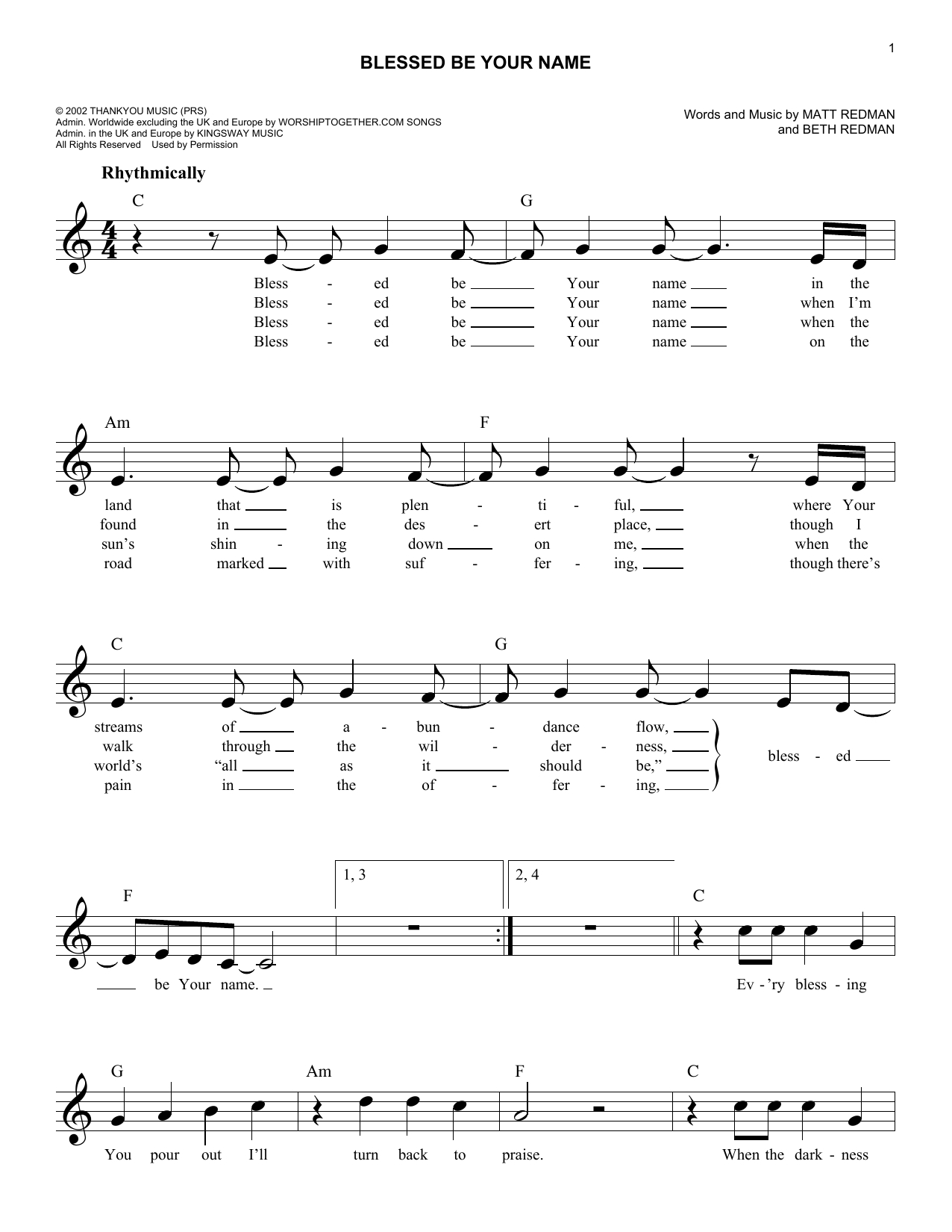Blessed Be Your Name Chords Blessed Be Your Name Matt Redman Piano Vocal Guitar Right Hand Melody Digital Sheet Music