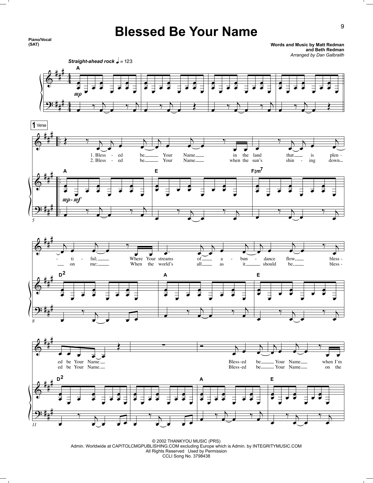 Blessed Be Your Name Chords Blessed Be Your Name Sheet Music To Download