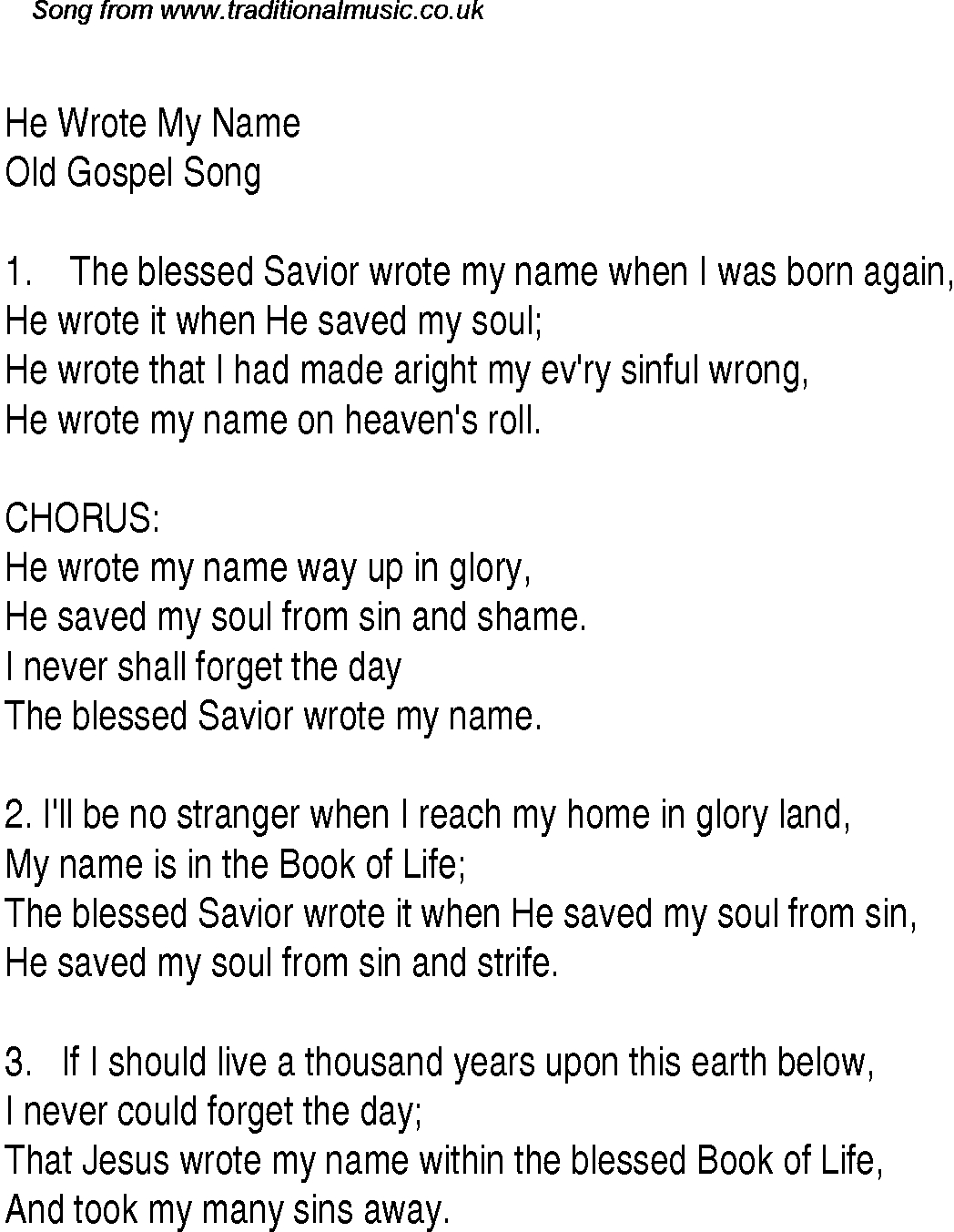Blessed Be Your Name Chords He Wrote My Name Christian Gospel Song Lyrics And Chords