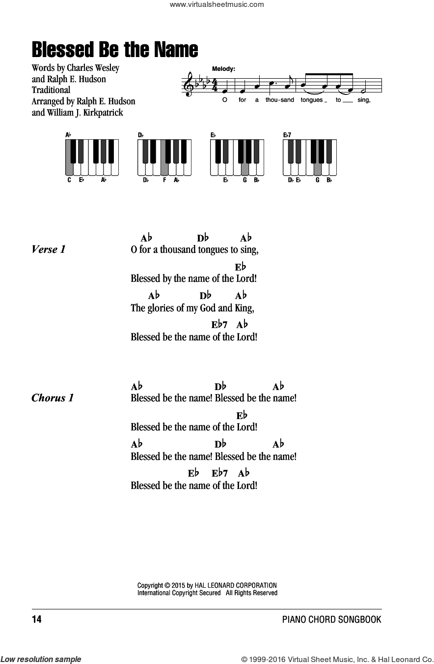 Blessed Be Your Name Chords Kirkpatrick Blessed Be The Name Sheet Music For Piano Solo Chords Lyrics Melody