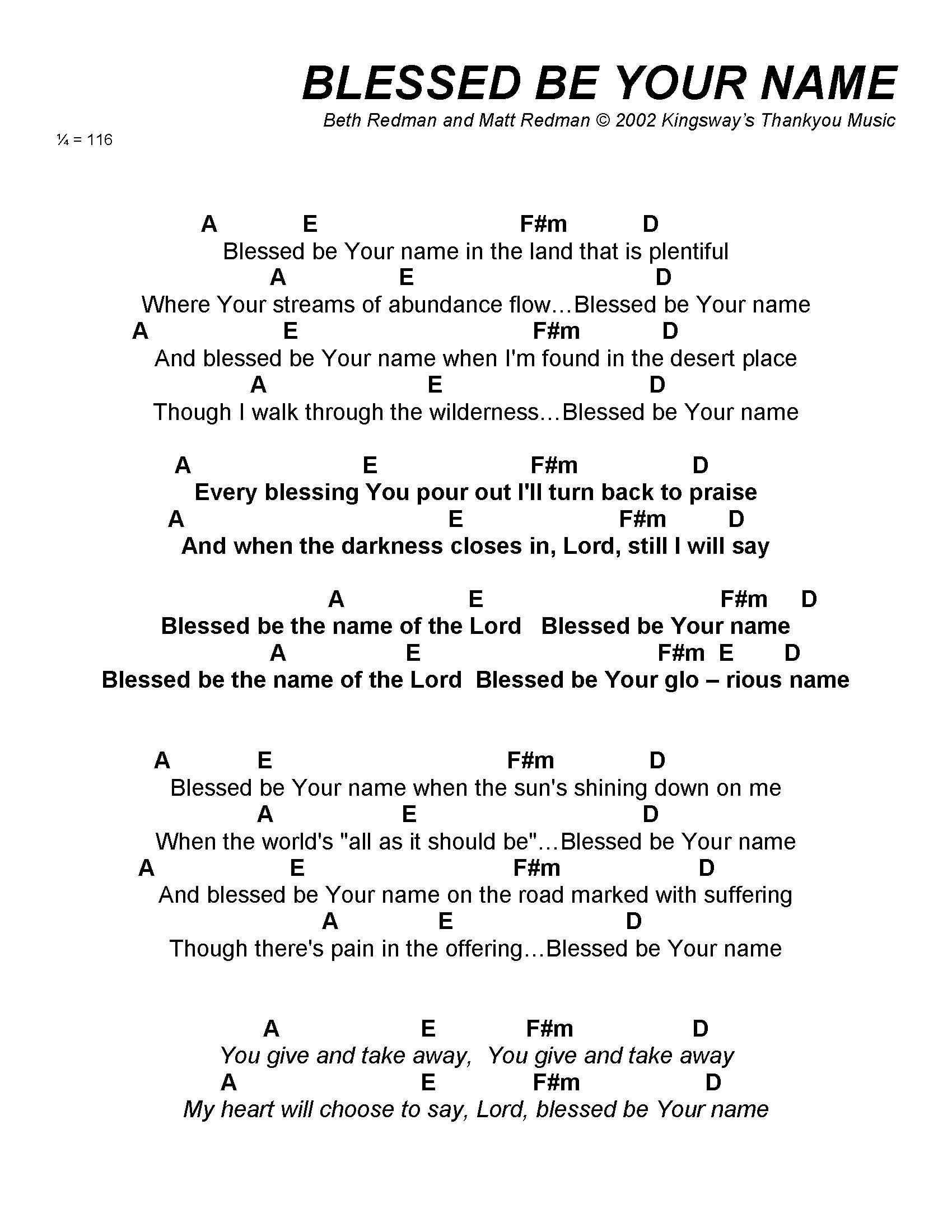 Blessed Be Your Name Chords Name This Chord Accomplice Music