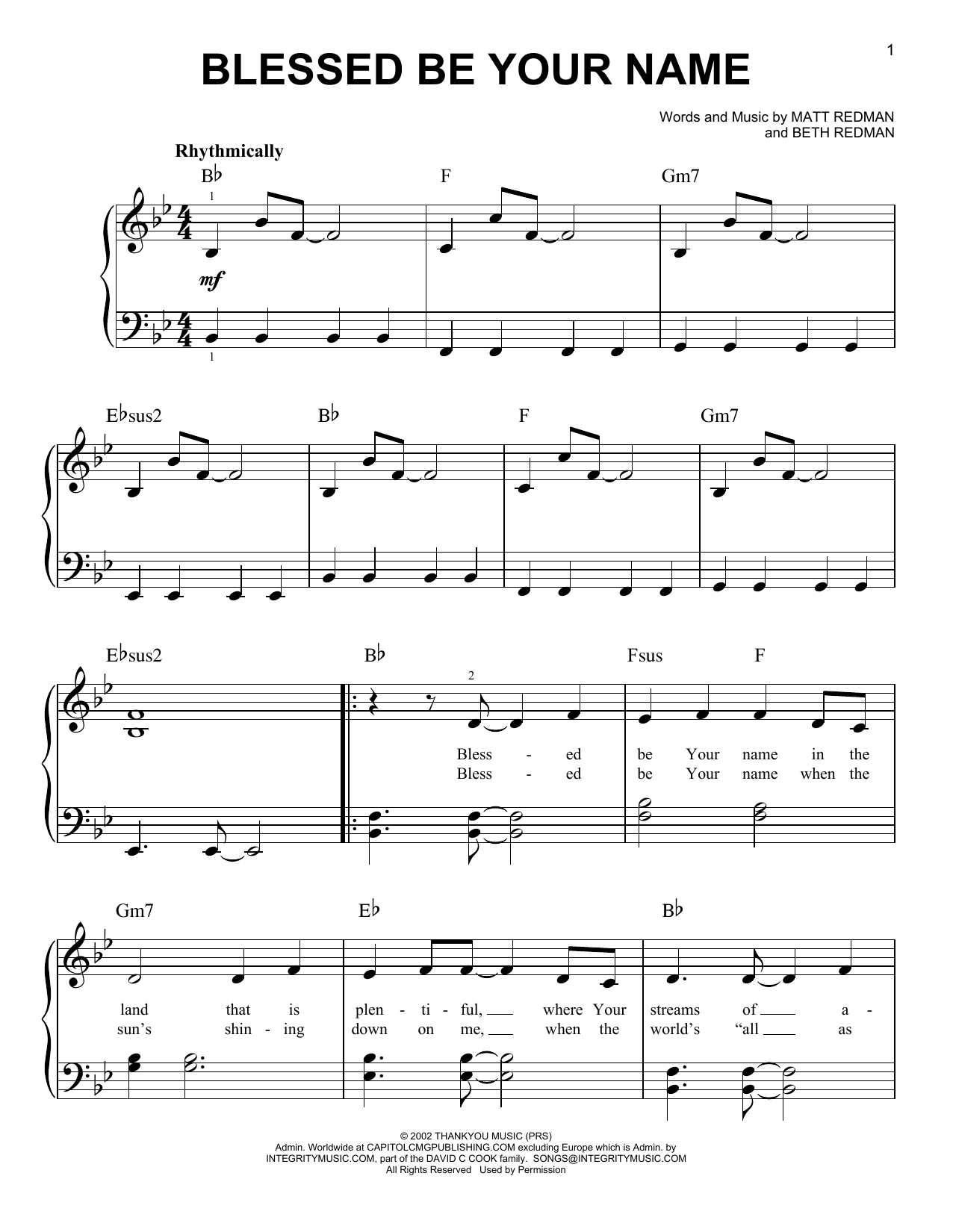 Blessed Be Your Name Chords Sheet Music Digital Files To Print Licensed Beth Redman Digital