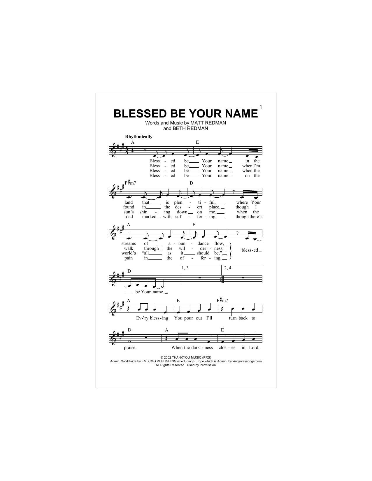 Blessed Be Your Name Chords Tree63 Blessed Be Your Name Sheet Music Notes Chords Download Printable Melody Line Lyrics Chords Sku 194481