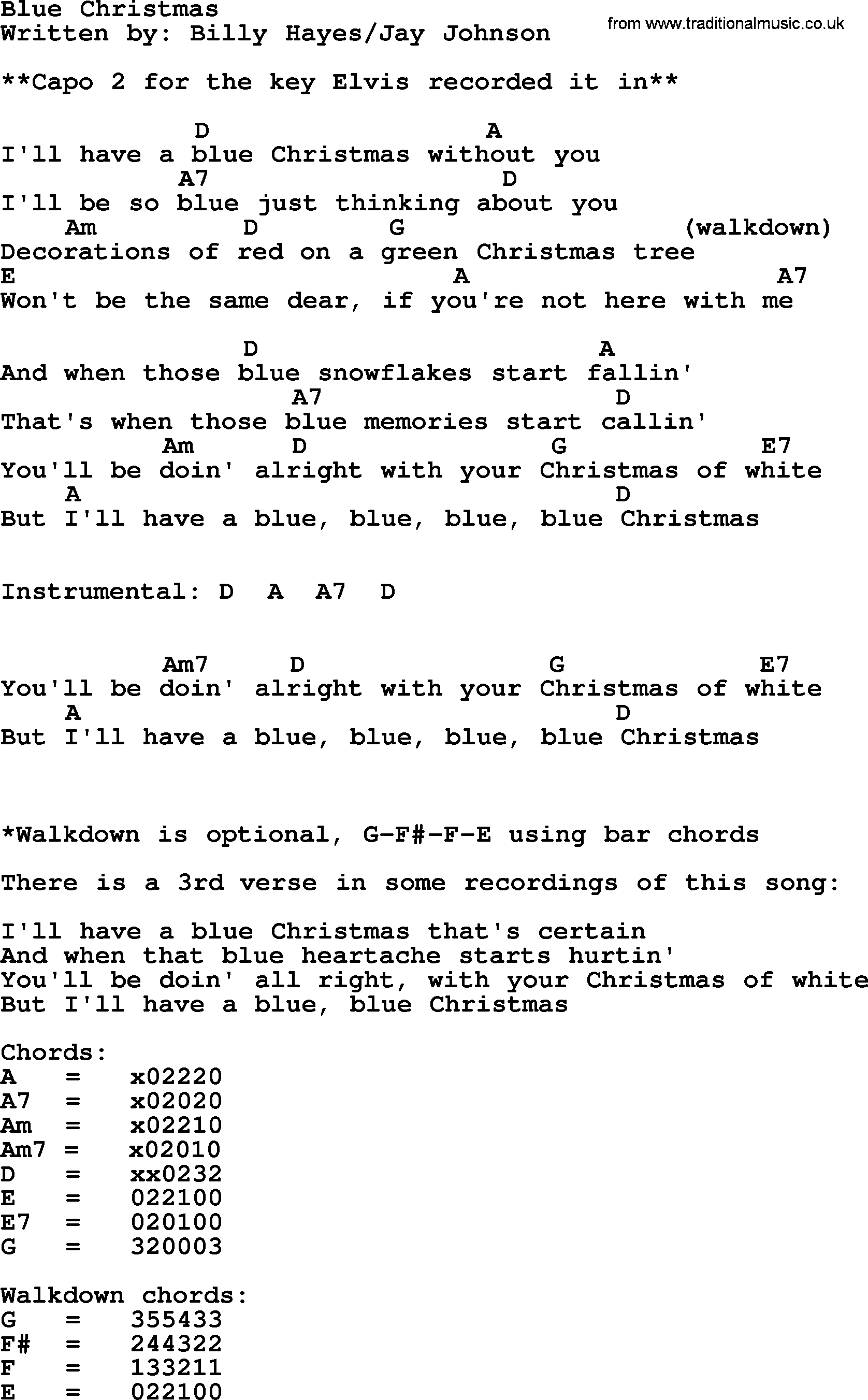 Blue Christmas Chords Blue Christmas Elvis Presley Lyrics And Chords