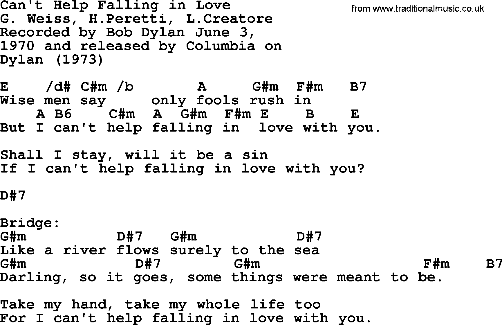 Can T Help Falling In Love Chords Bob Dylan Song Cant Help Falling In Love Lyrics And Chords