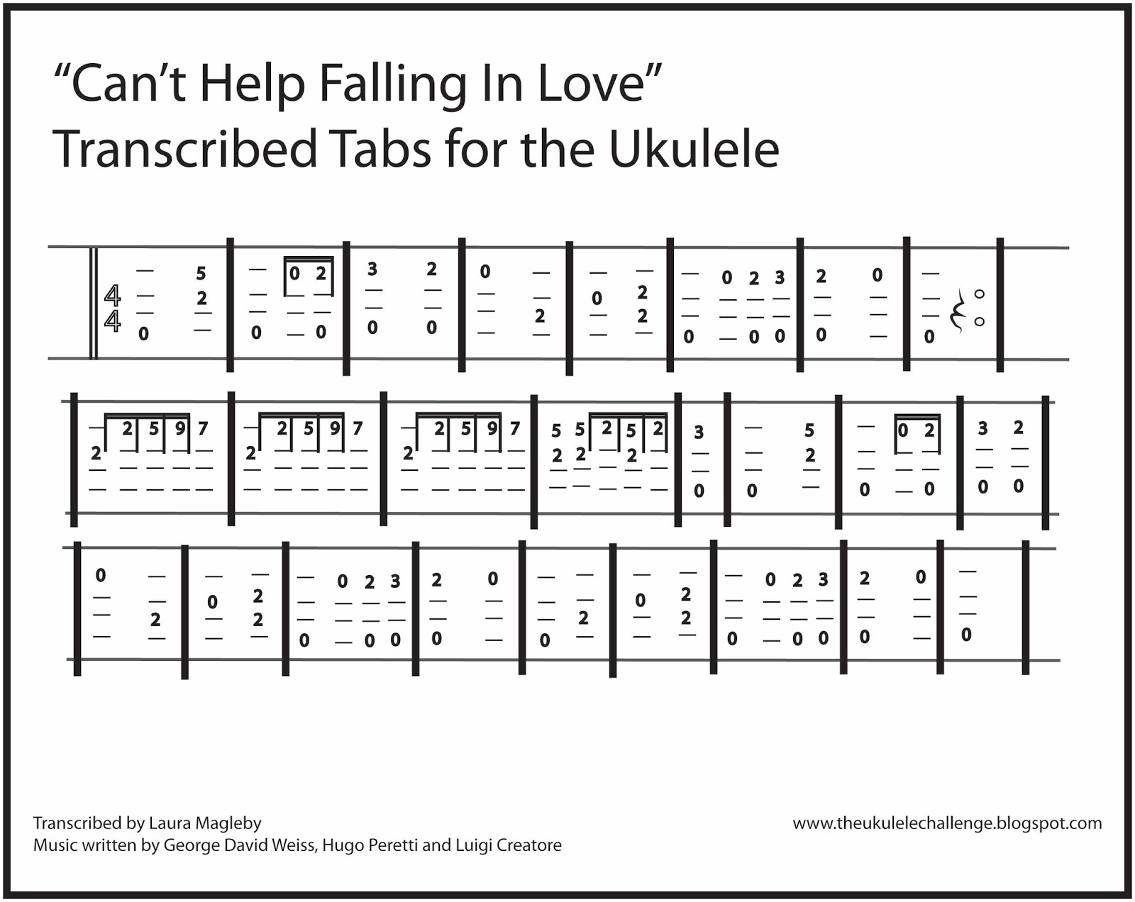 Can T Help Falling In Love Chords Can T Help Falling In Love Ukulele Tabs Examples And Forms