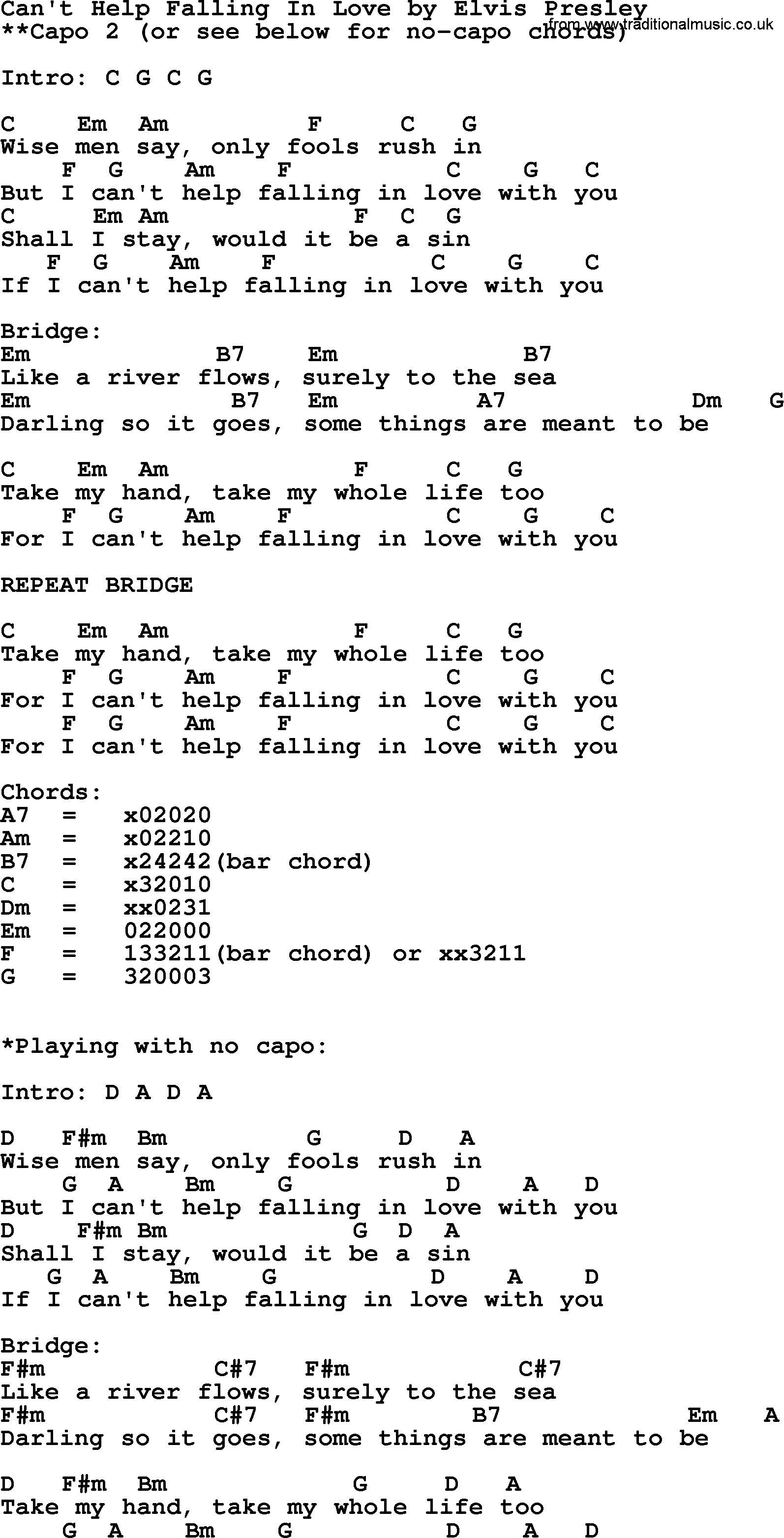 Can T Help Falling In Love Chords Cant Help Falling In Love Elvis Presley Lyrics And Chords