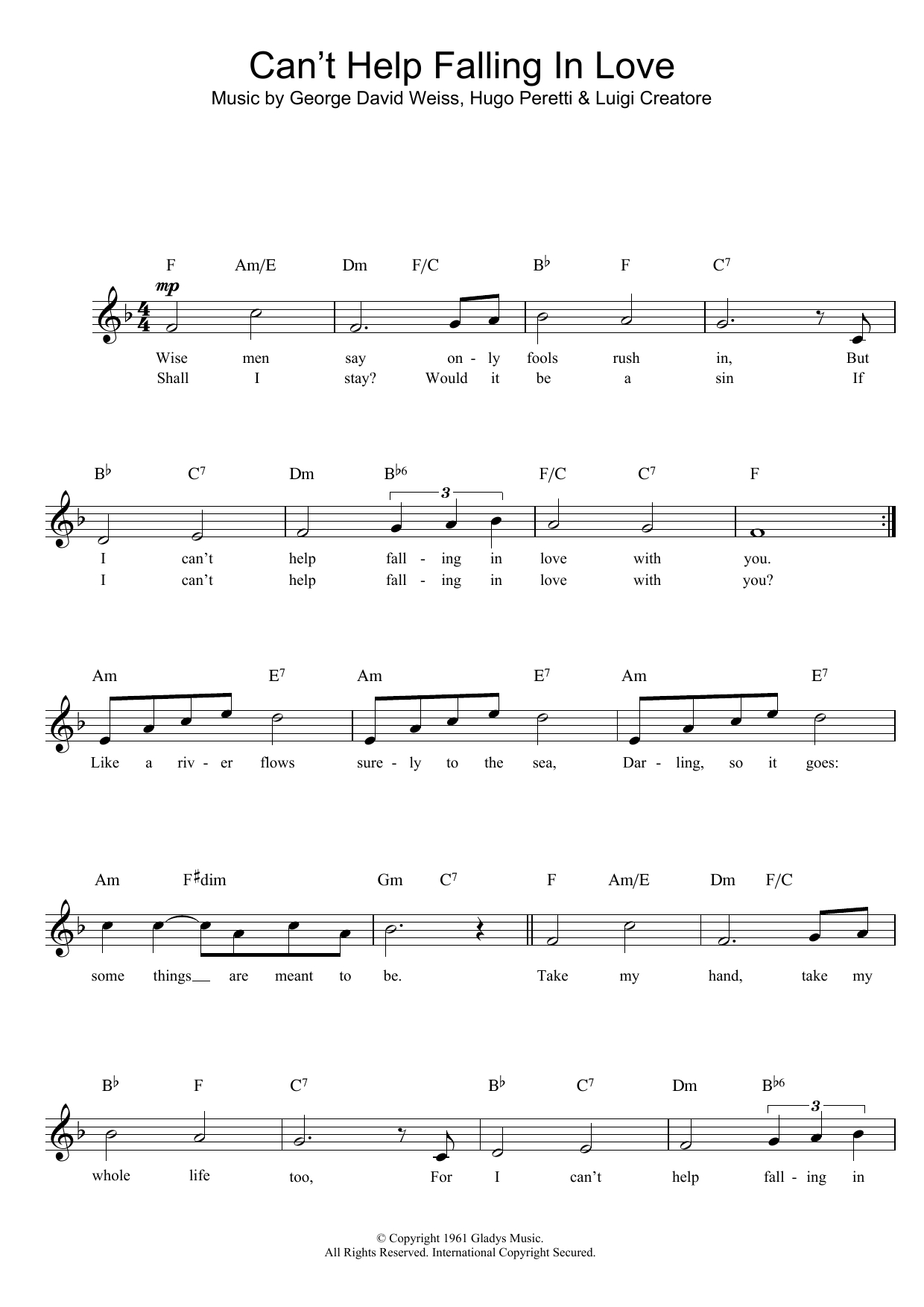 Can T Help Falling In Love Chords Cant Help Falling In Love Ub40 Lead Sheet Fake Book Digital Sheet Music