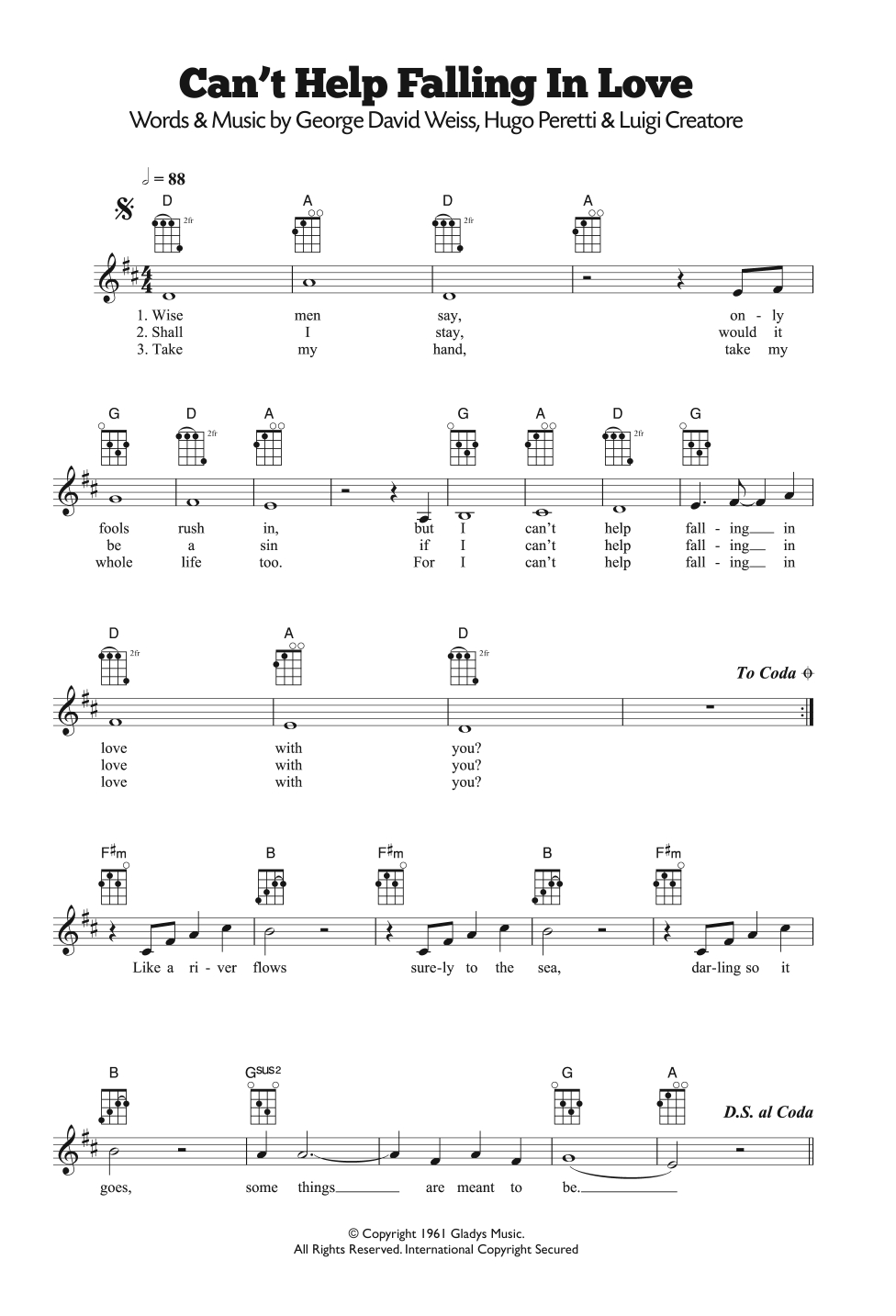 Can T Help Falling In Love Chords Cant Help Falling In Love Ub40 Ukulele Guitar Instructor