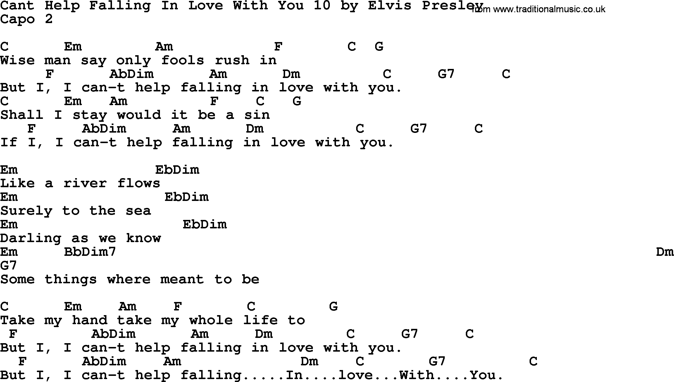 Can T Help Falling In Love Chords Cant Help Falling In Love With You 10 Elvis Presley Lyrics And