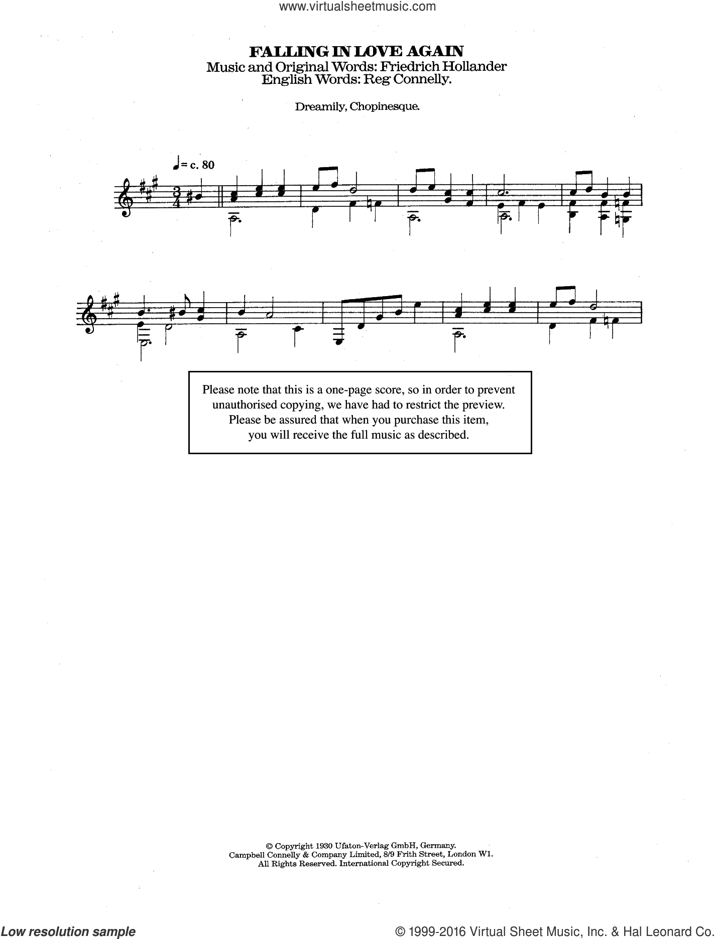 Can T Help Falling In Love Chords Dietrich Falling In Love Again Cant Help It Sheet Music For Guitar Solo Chords