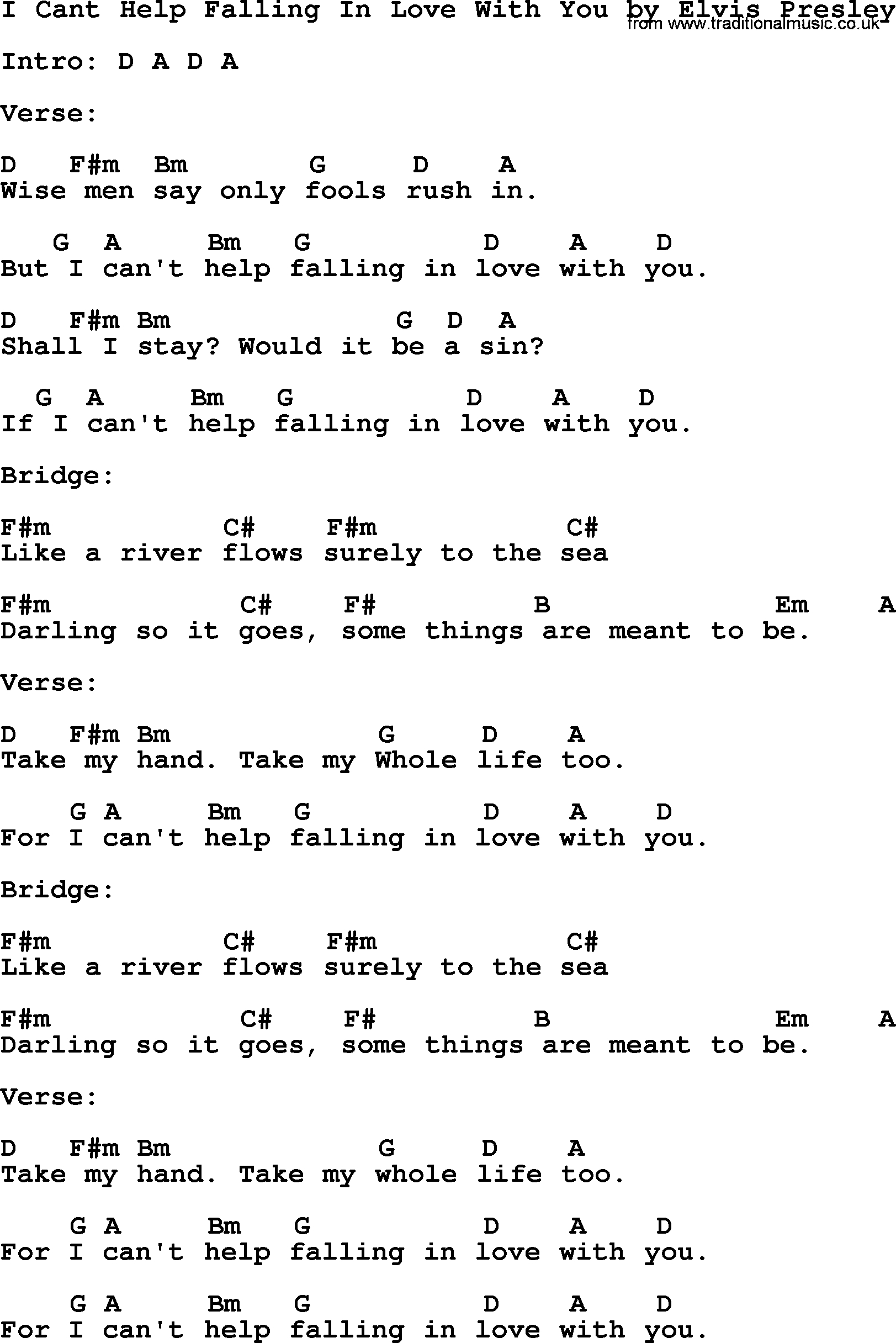 Can T Help Falling In Love Chords I Cant Help Falling In Love With You Elvis Presley Lyrics And