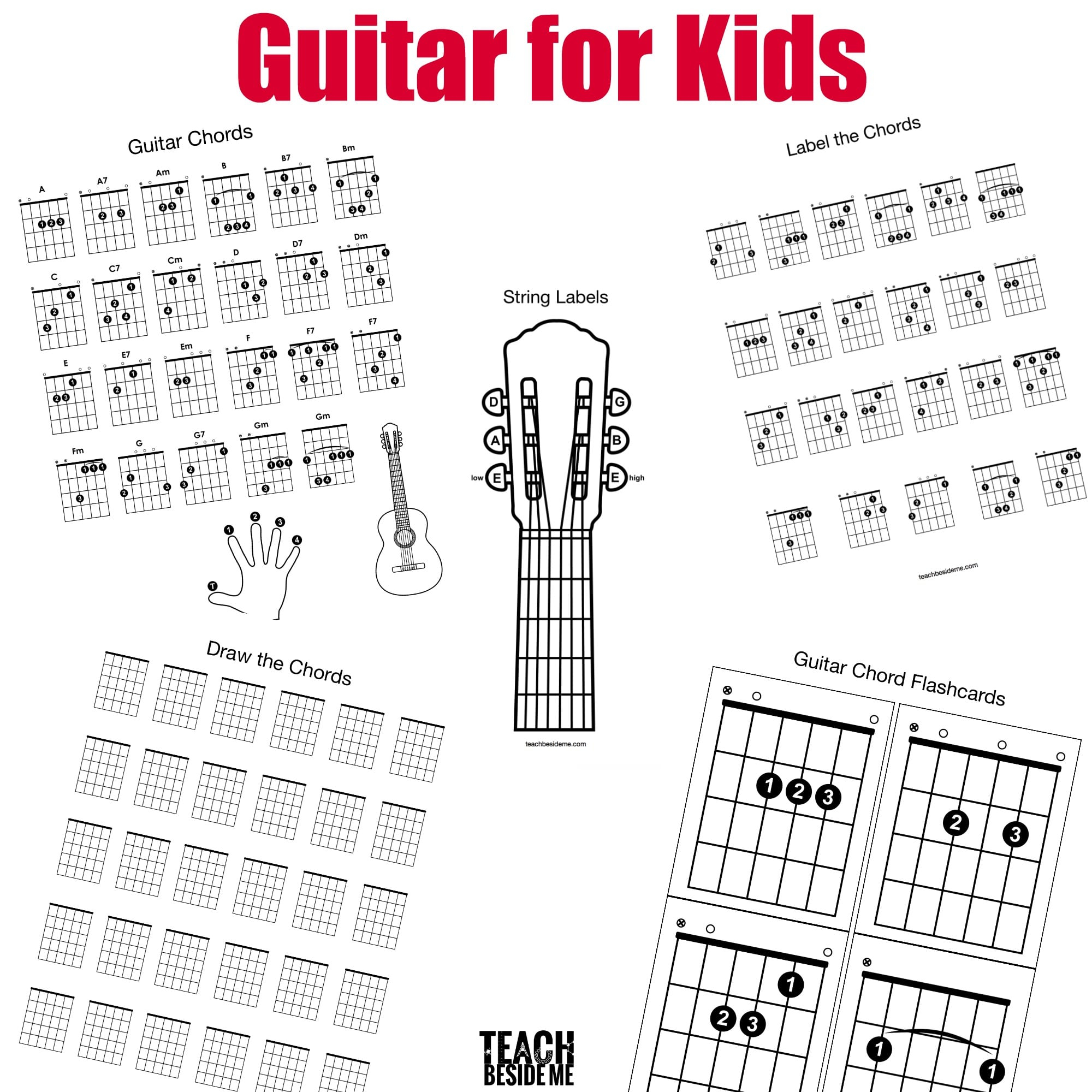 Chords On Guitar Guitar Chords For Kids