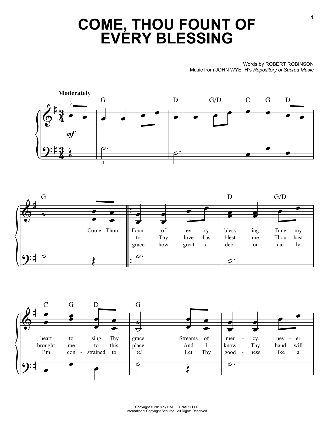 Come Thou Fount Chords Come Thou Fount Of Every Blessing Chords Key Of A Come Thou Fount