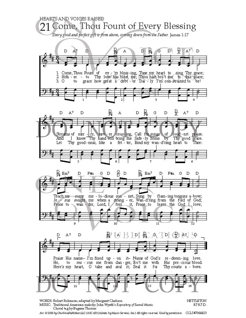 Come Thou Fount Chords Come Thou Fount Of Every Blessing Sheet Music With Guitar Chords
