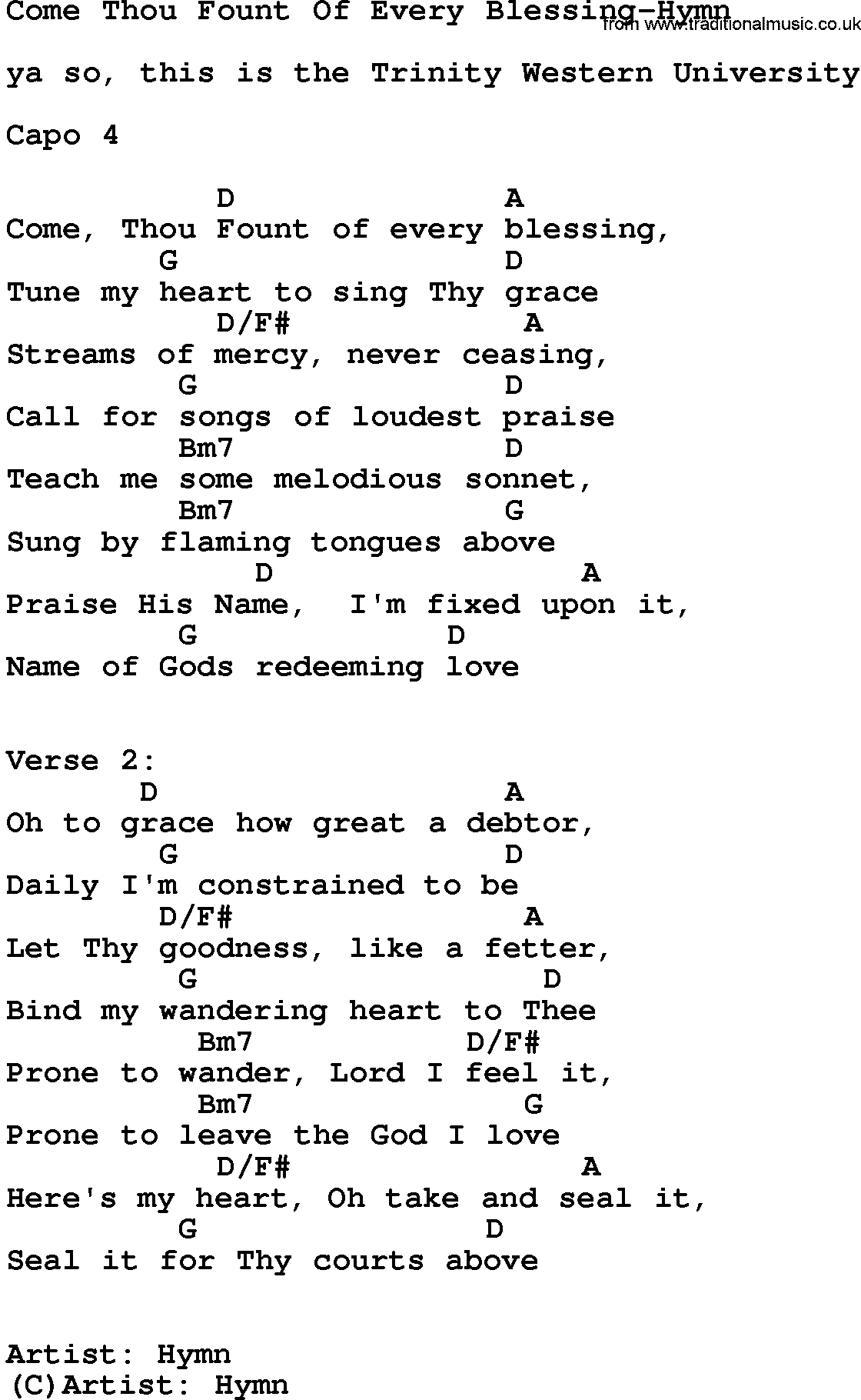 Come Thou Fount Chords Gospel Song Come Thou Fount Of Every Blessing Hymn Lyrics And Chords