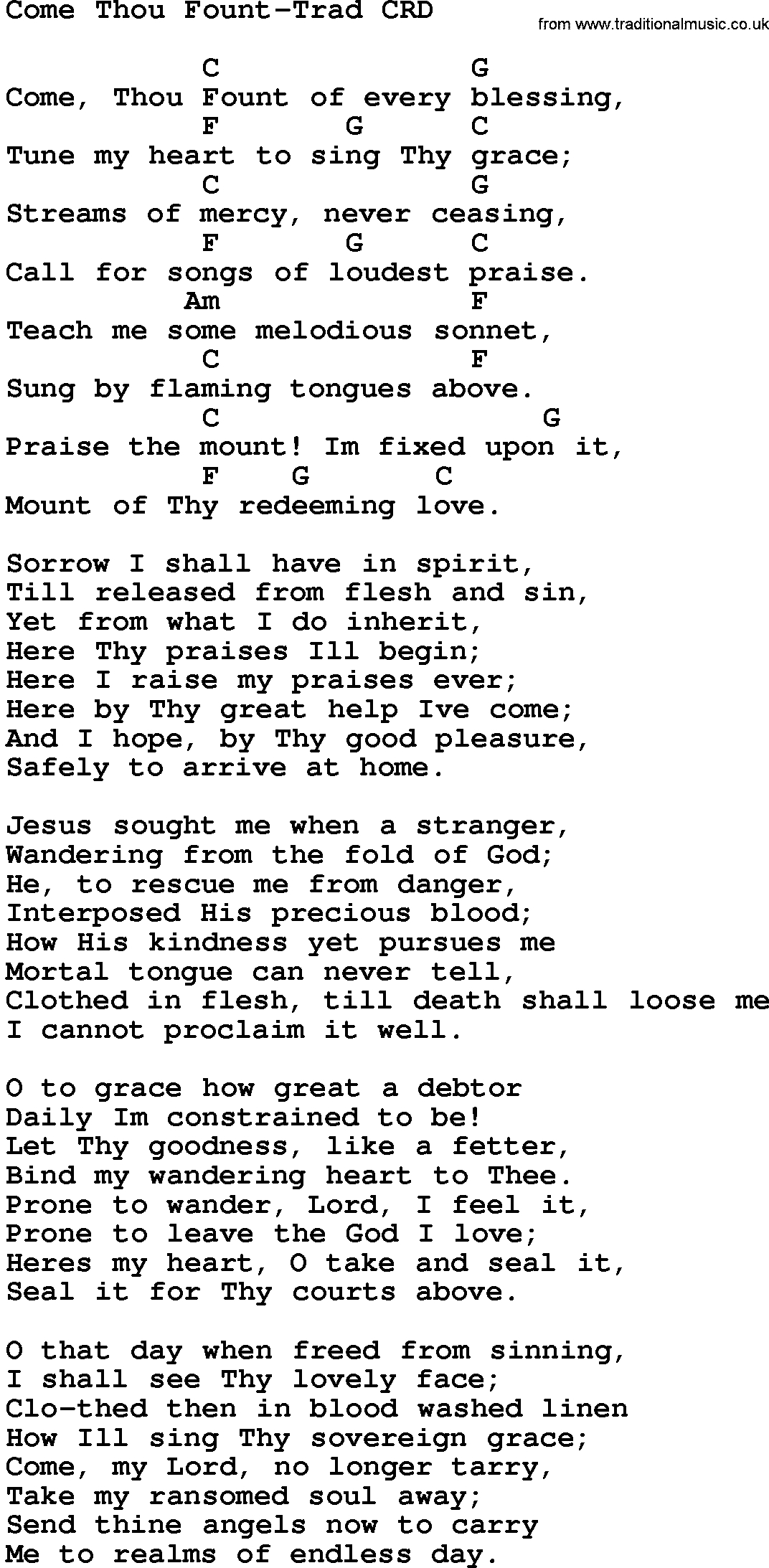 Come Thou Fount Chords Gospel Song Come Thou Fount Trad Lyrics And Chords