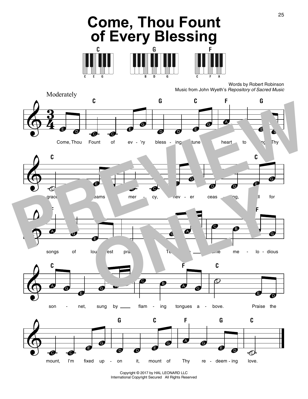 Come Thou Fount Chords John Wyeth Come Thou Fount Of Every Blessing Sheet Music Notes Chords Download Printable Easy Piano Sku 254342