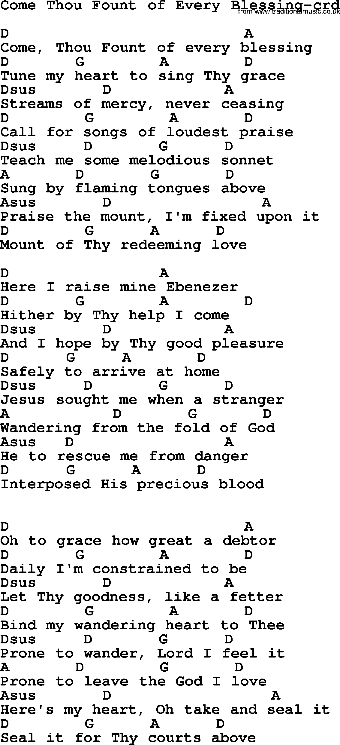 Come Thou Fount Chords Wedding Hymns And Songs Come Thou Fount Of Every Blessing Lyrics